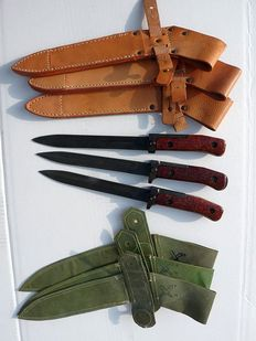 3 different models bopal VZ57 bajonets with leather sheath and NBC Sheath