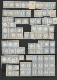 The Netherlands 1919 - postage due 7 cents - NVPH P53, 100 pieces in sheet parts