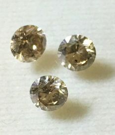 Lot of 3 natural diamonds ct. 0,97