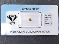 0,33 ct radiant geslepen diamant Natural Fancy brownish greenish yellow Si2