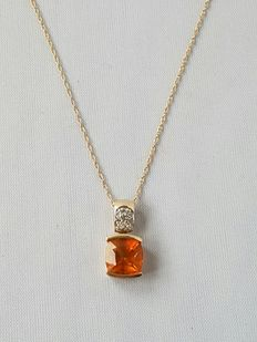Women's necklace and pendant with citrine and diamonds