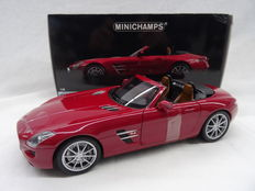 Minichamps - Scale 1/18 - Mercedes-Benz SLS AMG Roadster 2011 - Colour Red metallic