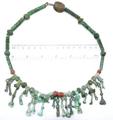 Viking Bronze and Glass Beads Necklace with Numerous Amulets - 55 beads
