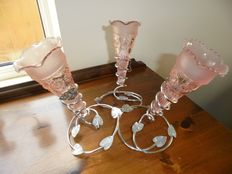 Old English Silver Plated Epergne Planter with 3 pink glass Cones, 1950