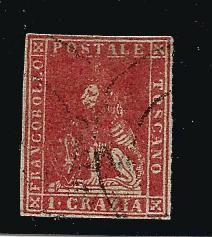 Grand Duchy of Tuscany, 1857 – 'Marzocco' – 1 Crazia stamp. Sassone catalogue #12.