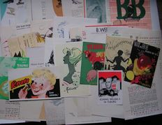 Lot with 32 advertising items including small posters, leaflets, etc. all designs by Ad Beekmans.  Period 1940-1953