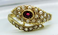 Ruby and Diamond 0,36ct 'Snake' Design 14ct Gold Ring