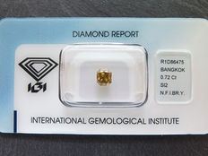 0,72 ct radiant geslepen diamant Natural Fancy Intens brownish yellow (orange) Si2
