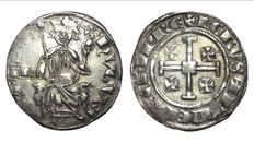 Crusaders in Cyprus - Hugh IV of Lusignan (1324-1359) - AR Gros - Crowned ruler / Jerusalem's cross - Schl. pl. VI,24