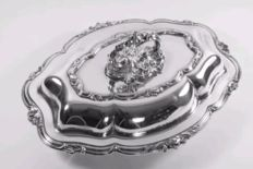 F & F, Silver plated, Rococo Entree Serving Dish lid & Key, Made in England