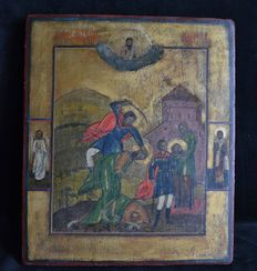 Icon with the scene Beheading of John - Russia - early 19th century