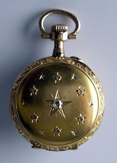 French pocket watch 7 diamonds style Louis XV 19th century