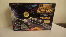 Star Trek - different items - Classic Phaser, Captain Pike Laser Pistol, Starfleet Phaser, 2x boardgame, 2x boxset figurines and some small ticket items like dice and playing cards