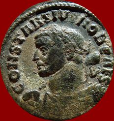 Roman Empire - Constantius I caesar (293-305 A.D.) bronze large follis (9,20 g. 28 mm.), Lugdunum (Lyon) mint, 301-303 A.D. Extremely rare, bust to left holding club.