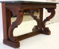 Large mahogany wall table with mirror at the bottom and marble top - Holland - 19th century