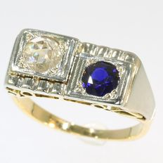 Art Deco unisex ring with Big Diamond and Sapphire - circa 1930
