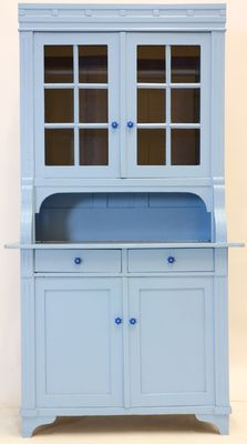 Blue pine antique kitchen cabinet, The Netherlands, ca. 1910