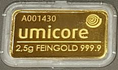 2.5 gr, Umicore sealed in certificate
