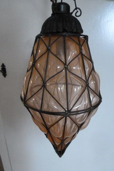 Royale Venetian hanging lamp-glass and metal wire - Italy - 2nd half of 20th century