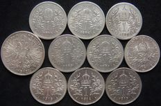 Austria & Hungary, House of Habsburg - Lot of 10 Coins 1 & 2 Corona 1894-1915 - silver
