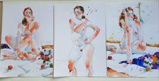 Original work; Lot of 3 Nude paintings  by Ewa L. - 2016 /2017