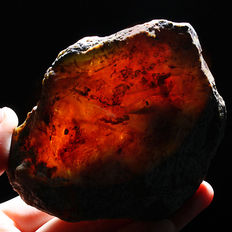 Natural polished Mexican Red Amber Potato Intact  – 85x72x35mm – 102 grams