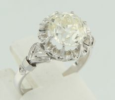 18k white gold solitaire ring set with a Bolshevik cut diamond  approximately 2.50 carat in total F / G VS / SI