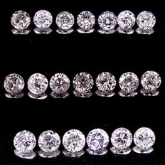 Lot of 20 pcs natural diamonds Brilliant cut – total 1,75 ct – color H/G – clarity SI/VS –