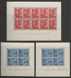 The Netherlands 1942 - Legion blocks with plate flaws and perforation error - Mast 402B PM, 403B PM1, 403G variation
