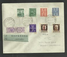 Italian Social Republic, 1944 - Emergency postage, with stamps from the Italian Social Republic (GNR and small Fascio), and postal parcels - Used on express envelope, from Maccacari to Sanguinetto.