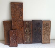 Six Speculaas (spicy ginger cookie) moulds, mid 20th century, Netherlands