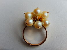 Bouquet ring made of 11 pearl pendants on 18 kt gold - NO RESERVE!!