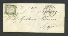 Sardinia, 1855/63 - 5 cents, emerald green (Sassone # 13d) on letter for the city.
