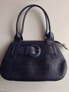 Furla – genuine leather bag with handles, blue colour