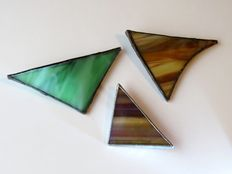 3 Glas in Lood broches