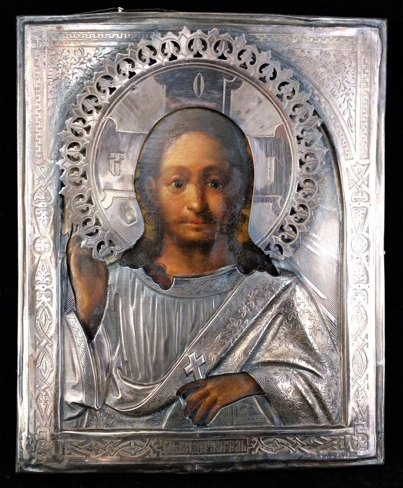Christ Pantocrator with silver Riza - Russia - second half 19th century