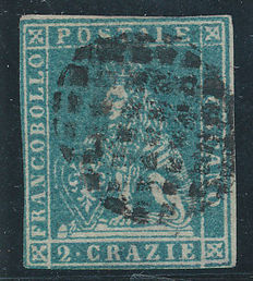 Italy Tuscany  – 1851 –  Sassone 5 used special stamp from Foiano