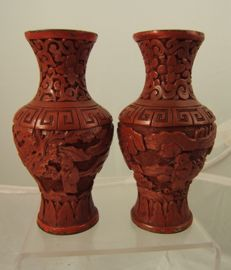 A pair of carved cinnabar lacquer vases - China - C19th