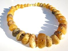 Baltic Amber Necklace, mixed rough Baltic Amber beads, weight 104 g