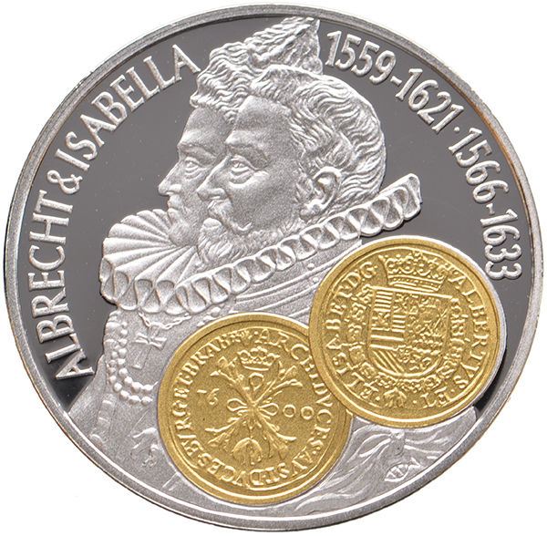 "Netherlands Antilles, 10 guilders, ""Commercial Coin"" 2001, ""Albrecht & Isabella"", silver with gold inlay"