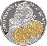 """Check out our Netherlands Antilles, 10 guilders, """"Commercial Coin"""" 2001, """"Albrecht & Isabella"""", silver with gold inlay"""