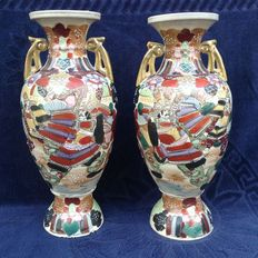 One pair of antique hand-painted vases with gold leaf-first half of 20th century