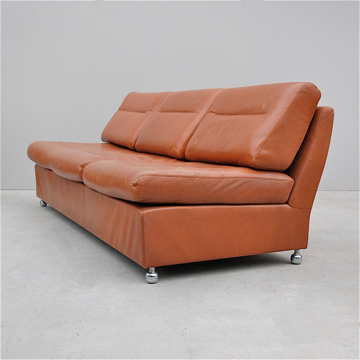Designer Unknown   Vintage, Cognac, Leather Sofa.