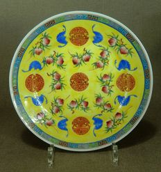 Polychrome porcelain lucky plate – China – circa 1920
