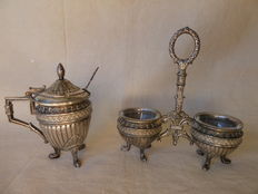 Antique silver plated pepper & salt set and mustard pot - France/English - Ca.1910
