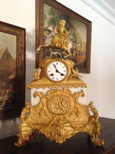 Empire clock - gold-plated with silver, bronze and marble - beginning of 19th century.