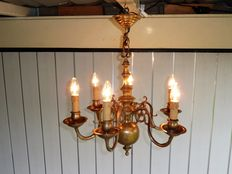 Copper candle chandelier, 1930s