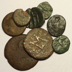 Antiquity - Mixed lot of 8 greek, byzantine and roman coins