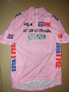 Cycling, Tour of Italy, 1990s, original pink jersey with the autograph of Marco Pantani