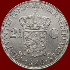 The Netherlands, 2½ guilders, 1940, Wilhelmina of the Netherlands, silver